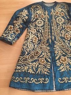 19th ANTIQUE OTTOMAN-TURKISH GOLD METALLIC DIVAL HAND EMBROIDERIED CAFTAN JACKET