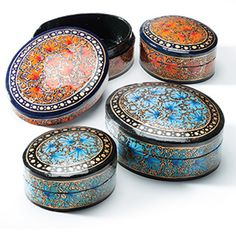A Set of 2 Fair Trade Kashmir Paper Mache Hand Painted Boxes