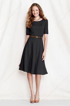 Women's Elbow Sleeve Ponté Boatneck Dress from Lands' End. http://www.amazon.com/gp/product/0895558009/ref=as_li_ss_tl?ie=UTF8&camp=1789&creative=390957&creativeASIN=0895558009&linkCode=as2&tag=collehammo-20