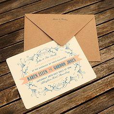 Vintage Coral & Navy Blue Wedding Invitation