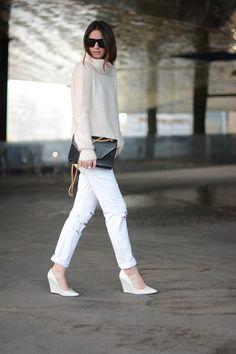 Jeans: 7 For All Mankind, Bag: Saint Laurent, Sweater: Zara