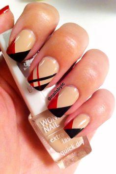Nude red black geometric classy tips nail design nails. Fancy Nails, Trendy Nails, Hair And Nails, My Nails, Finger, Nude Nails, Beige Nails, Black Nails, Beautiful Nail Art