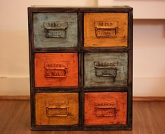 Distressed Chest of Drawers- Crafted in Metal. Size: Height 49cm Width 42cm. #homedecor #interiordesign #home #furniture #collection #colourful #sunshineboulevard