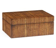 ecorative rectangular box with removable lid veneered in exotic zebrano wood to complement a contemporary interior.