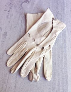 1950s Driving Gloves Cream Leather