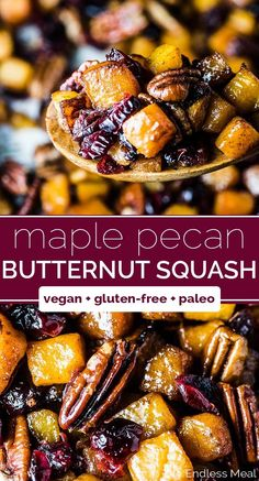 Maple Roasted Butternut Squash with Cranberries and Pecans SAVE FOR LATER! Maple Roasted Butternut Squash is the best side dish ever. It's easy to make, sweet, and delicious. Cranberries, pecans, and a little cinnamon make this special enough to serve to Vegan Side Dishes, Best Side Dishes, Side Dish Recipes, Food Dishes, Chicken Side Dishes, Gluten Free Sides Dishes, Whole Food Recipes, Vegetarian Recipes, Healthy Recipes