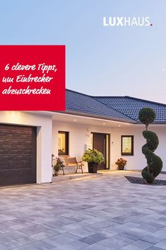 We give you valuable tips on how to protect your home from burglars . Front Yard Garden Design, House Front Design, Front Yard Fence, Garage Design, Outdoor Paving, Paver Designs, Concrete Porch, Driveway Design, Facade House