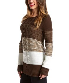 Look what I found on #zulily! Brown & Ivory Color Block Sweater by By Design #zulilyfinds