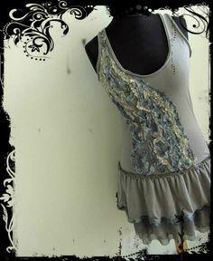 Upcycled Clothing / Gray Tattered Ruffles Tank Dress / Women Day Dresses / Mori Girl Clothing / Boho Rustic Chic / Refashioned Dress on Etsy, $58.00