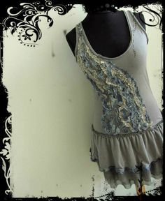 Upcycled Clothing / Gray Tattered Ruffles Tank Dress / Women Day Dresses / Mori Girl Clothing / Boho Rustic Chic / Refashioned Dress on Etsy, $58.00