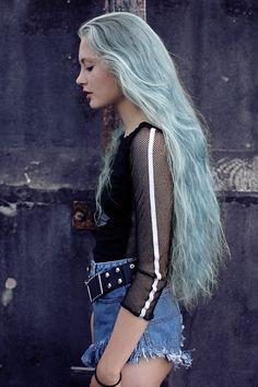 Long pastel light blue, aqua, and green hair. Breezy and super pretty!