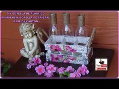DIY BOTELLAS DE PLASTICO APARIENCIA BOTELLAS DE CRISTAL BASE DE CARTON - YouTube