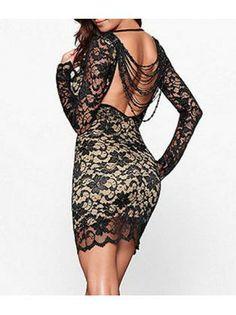 Sexy Open Back Black Long Sleeve Sheath Dress