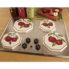 Tuscany Red Apple with Bamboo Trim Hand Painted Stove Cover Set of 4 84355 by ACK -- Visit the image link more details. Apple Kitchen Decor, Cherry Kitchen, Rustic Kitchen Decor, Red Kitchen, Kitchen Themes, Apple Decorations For Kitchen, Kitchen Ideas, Kitchen Stuff, Kitchen Design
