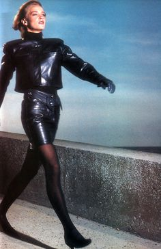 periodicult:  Guy Bourdin for American Vogue, December 1986. Clothing by Claude Montana.