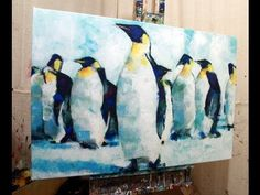 How to Paint with Acrylics on Canvas: Abstract Realistic Penguin Painting. - YouTube