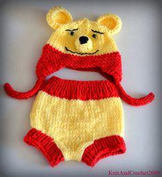 Winnie The Pooh Baby Hat Diaper Cover Set Photo Prop  Animal Bear Cartoon Red Yellow NB Newborn Infant Toddler Teddy Ear Flap. $39.00, via Etsy.