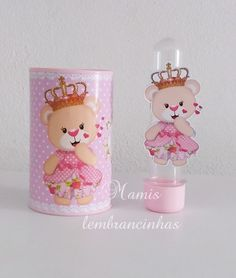 Kit lembrancinha ursinha princesa.. Maria Clara, Baby Shower, Princess Party, Gift Bags, Candle Holders, Alice, Happy Birthday, Teddy Bear, Kit