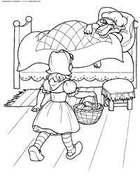 Rotkäppchen - Herunterladen und Drucken Färbung.  Coloring Färbung Bücher für Kinder aus einem Märchen, download razukrashki, skachatraskrasku von Rotkäppchen