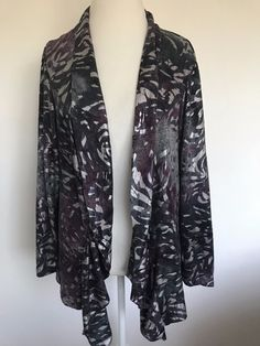 4ef0a464410a3 Dressbarn Long Cardigan jacket Open Front Long Sleeve Plus Size 22 24  1021