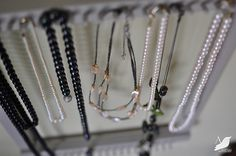 Necklace Rack Repurposed from a Weaving Frame