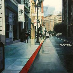 """""""Downtown in Blue,"""" by Greg Gandy, 18 x 18, Oil on Panel -- at Principle Gallery"""