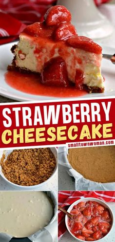 3 reviews · 1.5 hours · Vegetarian · Serves 12 · An easy dessert to impress! This Strawberry Cheesecake recipe is a cinch to make with a three ingredient graham cracker crust and fresh strawberry sauce. Make this simple dessert for special occasions… More Strawberry Topping, Strawberry Desserts, Strawberry Cheesecake, Cheesecake Recipes, Cheesecake Cake, Chocolate Strawberries, Easy Impressive Dessert, Simple Dessert, Easy Desserts
