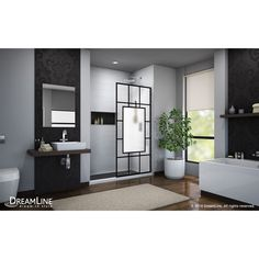 DreamLine French Linea Toulon H x to W Frameless Fixed Satin Black Shower Door at Lowe's. The DreamLine Toulon, part of the French Linea collection, is a single panel, walk-in shower design with a modern industrial touch to complement your Bathroom Shower Doors, Frameless Shower Doors, Walk In Shower Designs, Shower Units, Black Shower, Shower Surround, Thing 1, Shower Screen, Shower Enclosure