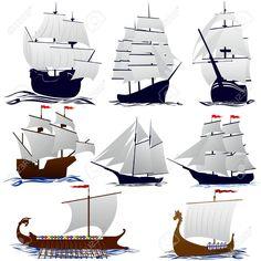 Viejos Barcos De Vela. Ilustración Sobre Fondo Blanco. Ilustraciones Vectoriales.