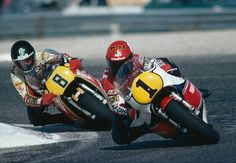 "tulikas: "" Kenny Roberts leads Graeme Crosby in the French motorcycle GP 500cc Circuit Paul Ricard France 1981 """