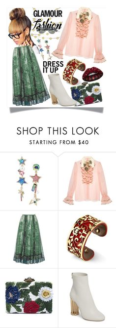 """Glamour Fashion"" by westcoastcharmed ❤ liked on Polyvore featuring Betsey Johnson, Gucci, Goody, Etro, Belk Silverworks, Oscar de la Renta and Salvatore Ferragamo"