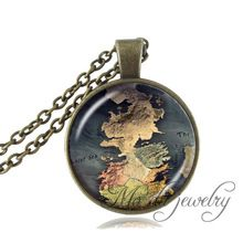The Game Of Thrones Map Jewelry Westeros Map Pendant Movie Game Of Thrones Necklace A Song of Ice and Fire Jewelry Vintage(China (Mainland))