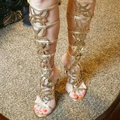 Gladiator heels Size 8 heeled gold gladiator heels.  Beautiful and only worn once for a themed party. Excellent condition. Breckelles Shoes Heels