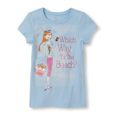 s Short Sleeve 'Which Way To The Beach' Girl Glitter Graphic Tee - Blue T-Shirt - The Children's Place