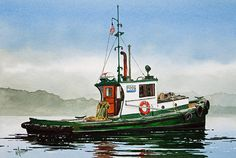Tugboat Lela Foss by James Williamson - Tugboat Lela Foss Painting - Tugboat Lela Foss Fine Art Prints and Posters for Sale Old Boats, Small Boats, Fishing Vessel, Ship Paintings, Boat Art, Float Your Boat, Boat Painting, Nautical Art, Motor Boats