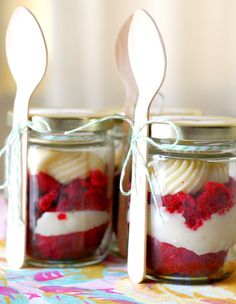 Red velvet cupcakes in a mason jar.  I am so making these!!!!