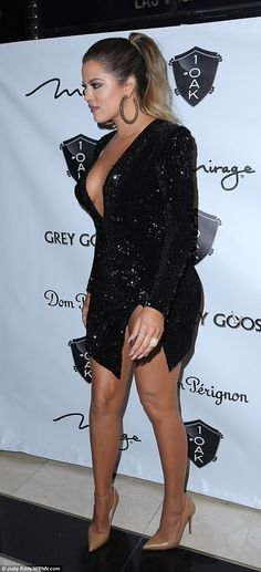 Khloe Kardashian stuns in plunging LBD as she hosts event in Las Vegas #dailymail