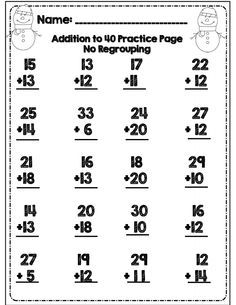2-Digit Addition and Subtraction Without Regrouping