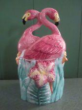 Retro Deco Pink Flamingo Lotus Cookie Jar - Mid Century Look - Never Used