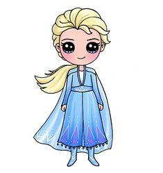 Kawaii Girl Drawings, Cute Disney Drawings, Cute Animal Drawings Kawaii, Cute Easy Drawings, Disney Princess Drawings, Cute Little Drawings, Cartoon Drawings, Cute Kawaii Girl, Cute Cartoon Girl