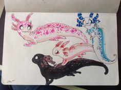 My Axolotl OCs!:3 by Clara mc