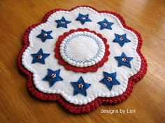 """""""Patriotic Star Gazing"""" 11"""" Penny Rug Candle Mat Americana Primitive 