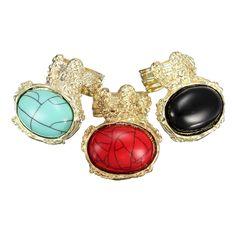 Retro Vintage Big Oval Gemstone Gold Ring
