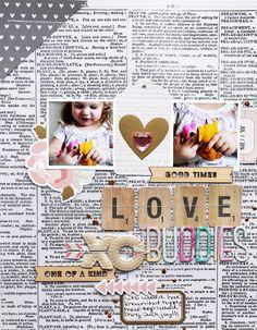 "scrapbook layout on ""news print"" background paper Scrapbook Journal, Baby Scrapbook, Scrapbook Paper Crafts, Scrapbook Cards, Scrapbook Designs, Scrapbook Sketches, Scrapbook Page Layouts, Scrapbooking Ideas, Studio Calico"