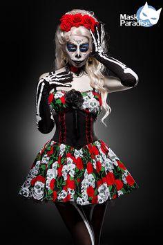 Day Of The Dead  Mask Paradise Halloween Costume Skelett Kostum Damen Skelett