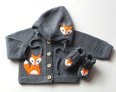 Grijs baby set fox baby set merino wol baby outfit MADE TO ORDER