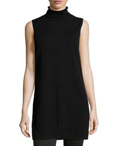 SALE ALERT! Great piece, under $120.00! Cashmere+Sleeveless+Knit+Tunic,+Black+by+Neiman+Marcus+at+Neiman+Marcus+Last+Call.