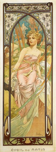 Morning Awakening by Alphonse Mucha. From his Time of Day series.