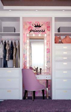 Wardrobe Design Bedroom, Teen Bedroom Designs, Bedroom Decor For Teen Girls, Cute Bedroom Ideas, Teen Room Decor, Room Ideas Bedroom, Small Room Bedroom, Girls Dressing Room, Dressing Room Design