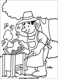 Bee-keeper coloring page Bee Coloring Pages, Coloring Pages For Kids, Coloring Sheets, Adult Coloring, Coloring Books, Bees For Kids, Bee Activities, Art Drawings For Kids, Preschool Books
